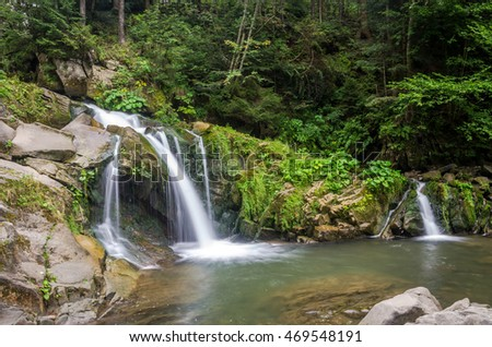 Mountain river with waterfall and rocks at national park in the Skole Beskids near Lviv