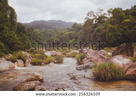 Mountain river Yang Bay  Vietnam waterfall, 48 km from Nha Trang, consists of three sets of falls -- Yang Bay, Yang Khang, and Ho Cho. - stock photo