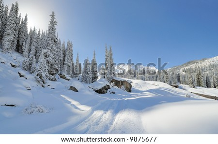 Mountain road after night snowfall - stock photo