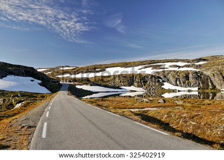 Mountain road and glaciers. Norway