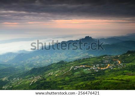Mountain road at ( phu tubberk) in Phu Hin Rong Kla National Park Phetchabun Province Asia Thailand  - stock photo
