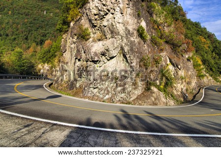 Mountain road bend, car advertising background, - stock photo