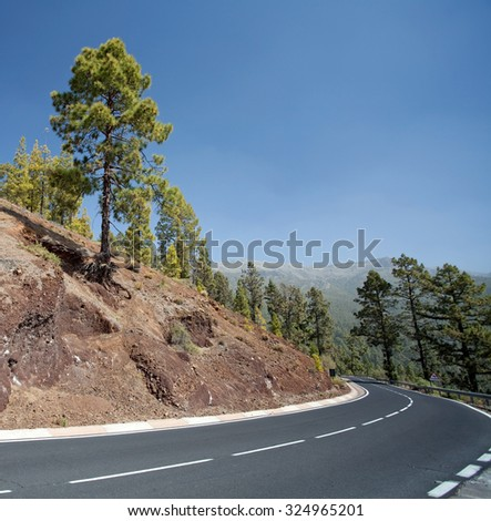 Mountain road, Canary Island, Tenerife, Spain - stock photo