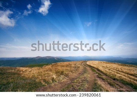 Mountain road carpathian ukraine - stock photo