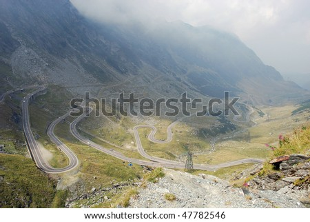 Mountain road from carpatians, trasfagaras - stock photo