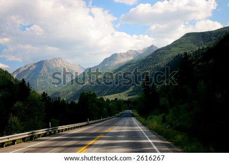 Mountain Road in Colorado Mountains - stock photo