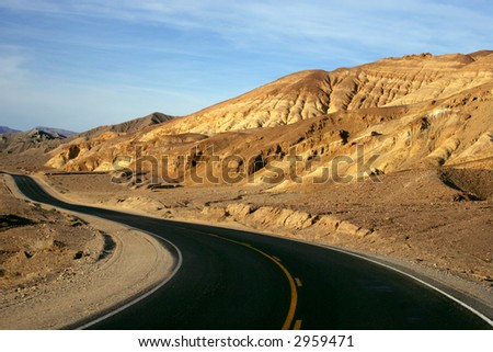 Mountain Road in Death Valley, California - stock photo
