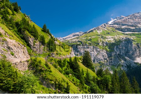 Mountain road in Klausen Pass, Switzerland - stock photo