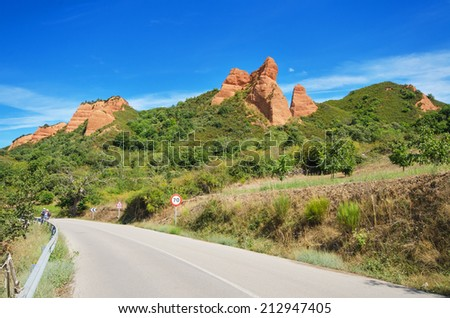 Mountain road in Las Medulas, ancient roman mines and natural park in Leon, Spain. - stock photo