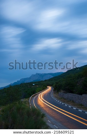 Mountain road in night, - stock photo