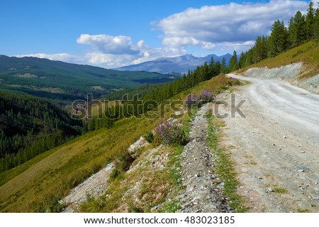 Mountain road in Ulagan Highlands to Katu-Yaryk pass in Altai, Russia