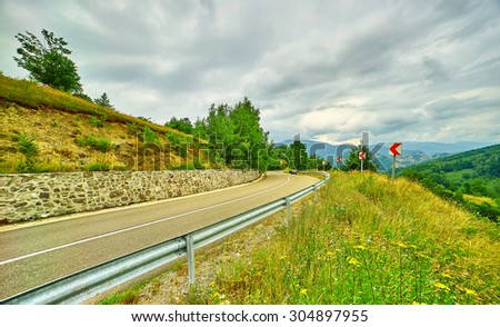 Mountain Road Landscape in Romanian Mehedinti Mountains.