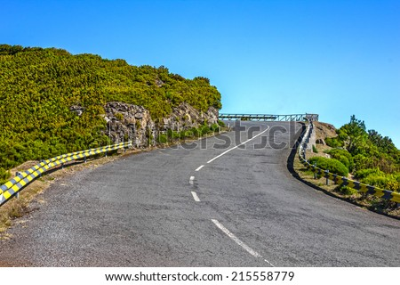 Mountain road, Madeira, Portugal - stock photo