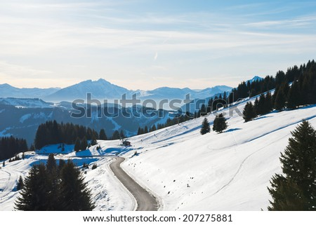 mountain road near Avoriaz town in Alps, France