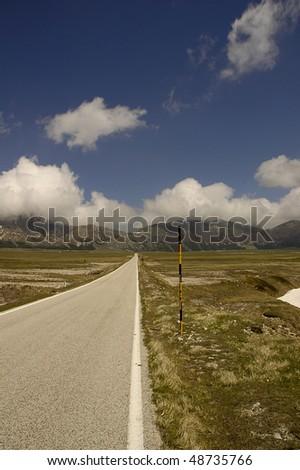 Mountain road near Gran Sasso, Italy - stock photo