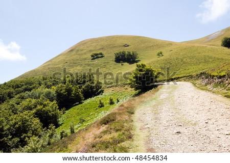 mountain road, pyrenees - stock photo
