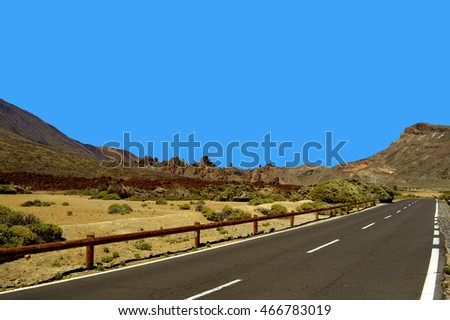 Mountain road TF-21 up to Mount Teide in Tenerife