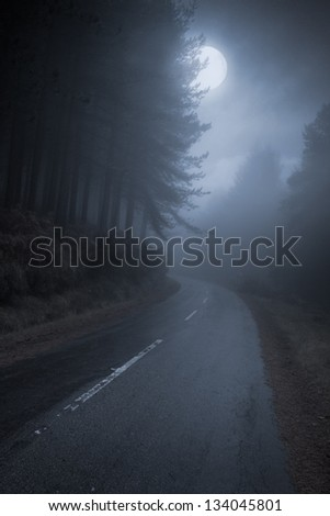 Mountain Road that runs through the forest on a full moon night - stock photo