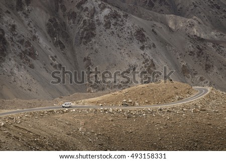 Mountain Road To Pangong Lake, Leh Ladakh, Jammu and Kashmir, India