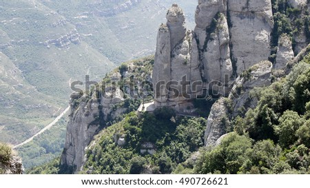 Mountain rocks with pedestrian pathways near the Montserrat monastery, Catalonia, Spain