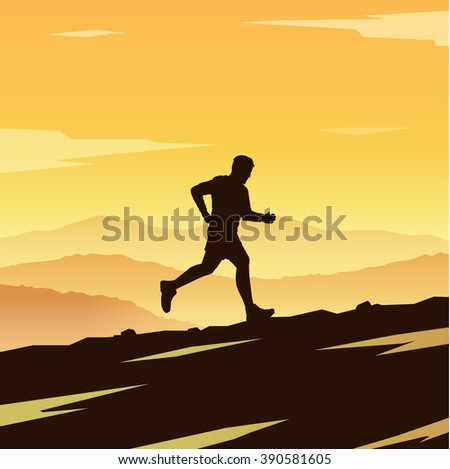 Mountain Running. Runner silhouette. Running man. Skyrunning poster. Extreme sports. Mountain landscape. Outdoor sports. Hiking. #1 - stock photo
