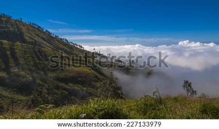 Mountain Scape View at Rinjani Mountain, Lombok, Indonesia - stock photo