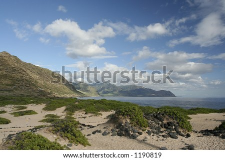 Mountain scene at Kaena Point, Oahu - stock photo
