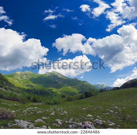 Mountain scene during sunny day, Velebit, Croatia - stock photo