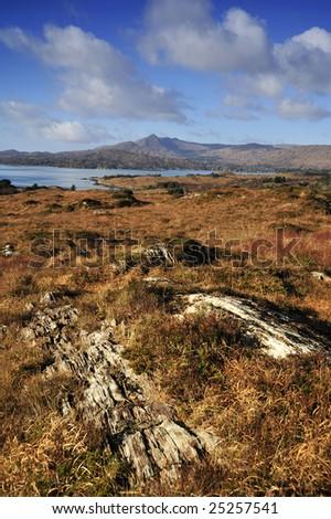 mountain scene overlooking Bantry Bay, Co.Cork, Ireland - stock photo