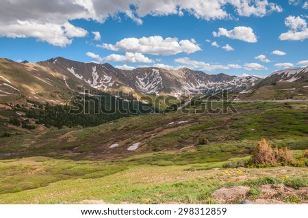 Mountain scenery at Loveland Pass Colorado. - stock photo