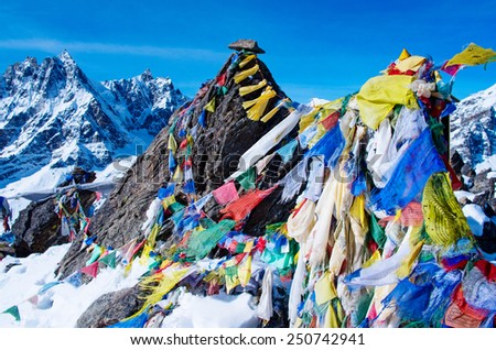 mountain scenery from gokyo ri with prayer flags - Nepal - stock photo