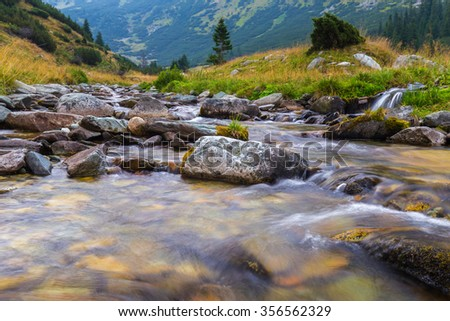 Mountain scenery in the Transylvanian Alps  - stock photo