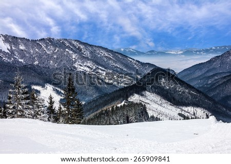 Mountain scenery, winter Tatry landscape, forest, Slovakia - stock photo
