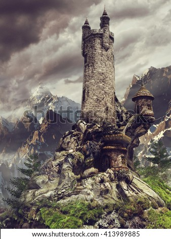 Mountain scenery with a fairytale castle with high towers. 3D illustration.