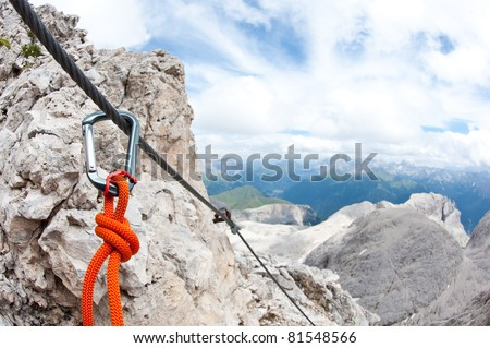 Mountain scenery with carabine in the foreground. Dolomites, Italy. - stock photo