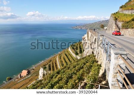 Mountain serpentine at Geneva lake, Switzerland - stock photo