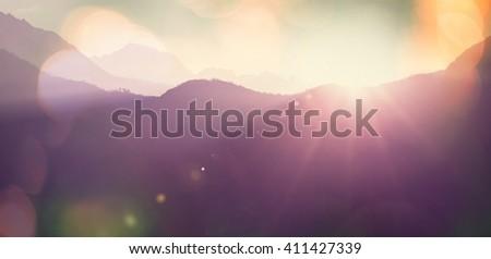 Mountain silhouette - stock photo
