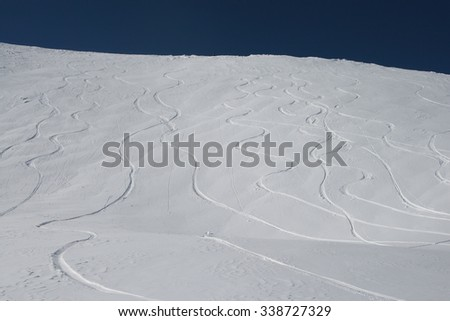 Mountain ski resort . Georgia. Clear weather after snowfall - stock photo