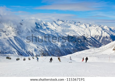 Mountain ski resort Hochgurgl Austria - nature and sport background - stock photo