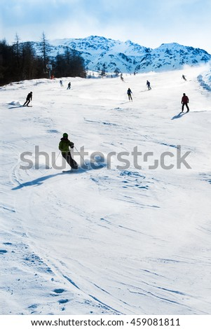 Mountain ski resort Kals-Matrei, Austria - winter sports and beautiful nature.