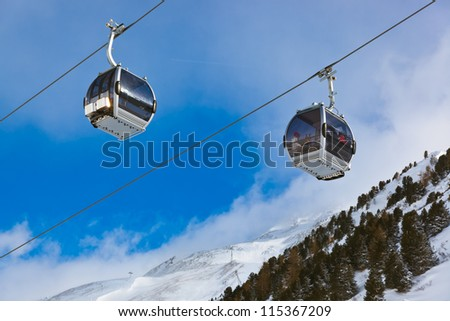 Mountain ski resort Obergurgl Austria - nature and sport background - stock photo