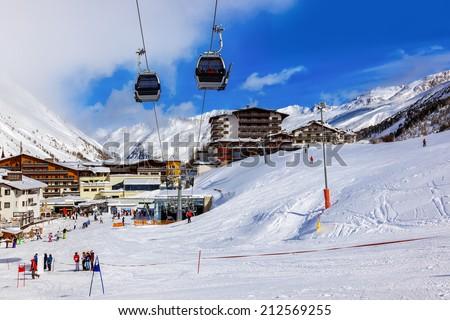 Mountain ski resort Obergurgl Austria - nature and sport background - stock photo