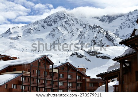 Mountain ski resort with snow in winter in Val Thorens, Alps, France. - stock photo