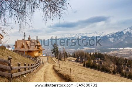 Mountain ski village , Zakopane,Poland - stock photo