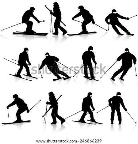 Mountain skier  man speeding down slope.  sport silhouette. - stock photo