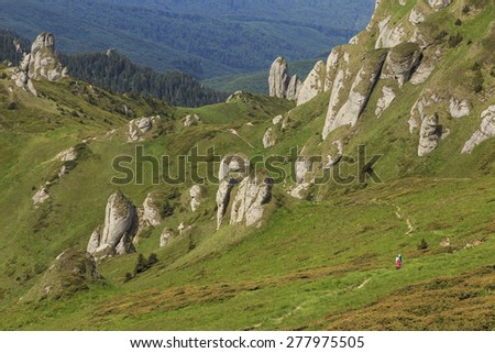 Mountain slope with cliffs