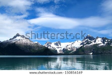 mountain snow lake at alaska - stock photo