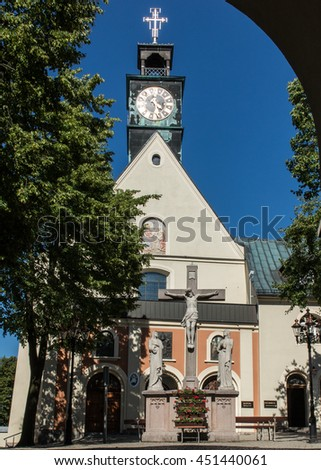 Mountain St. Anna Basilica, Franciscan monastery and the International Shrine of St. Anna, Poland - stock photo