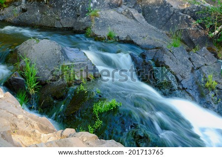 Mountain stream flowing over rocks