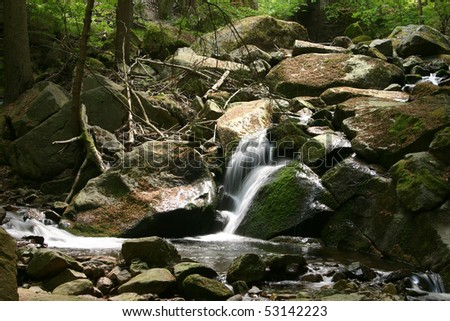"""Mountain stream """"Ilse"""" in the National Park """"Upper Harz"""" in Saxony-Anhalt / Germany - stock photo"""
